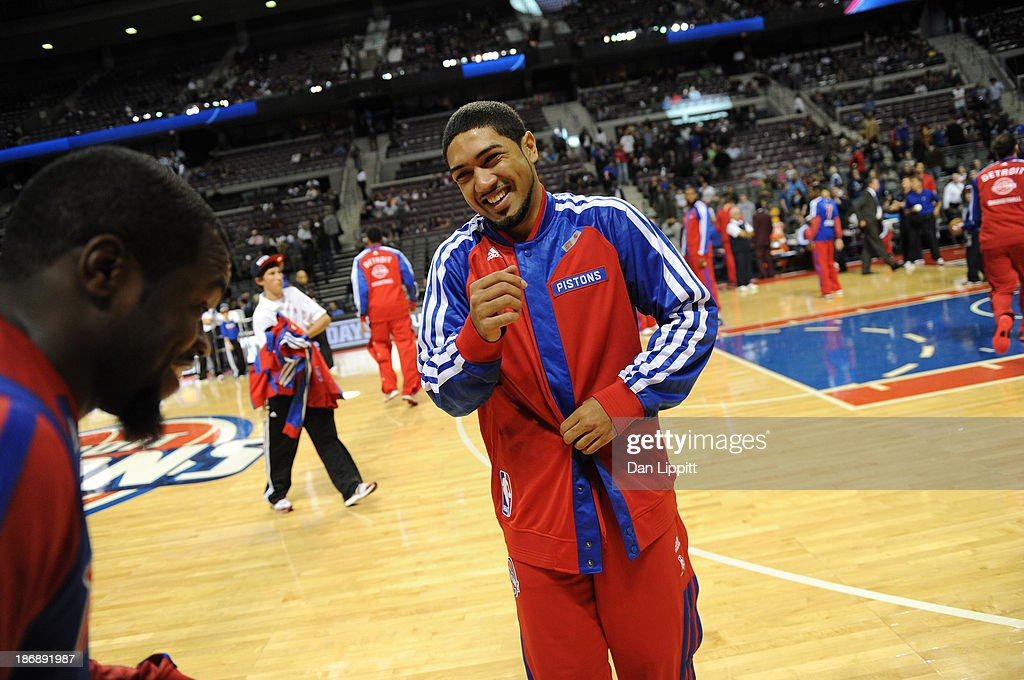 <a gi-track='captionPersonalityLinkClicked' href=/galleries/search?phrase=Peyton+Siva&family=editorial&specificpeople=5792001 ng-click='$event.stopPropagation()'>Peyton Siva</a> #34 of the Detroit Pistons smiles prior to the game against the Boston Celtics during the game on November 3, 2013 at The Palace of Auburn Hills in Auburn Hills, Michigan.