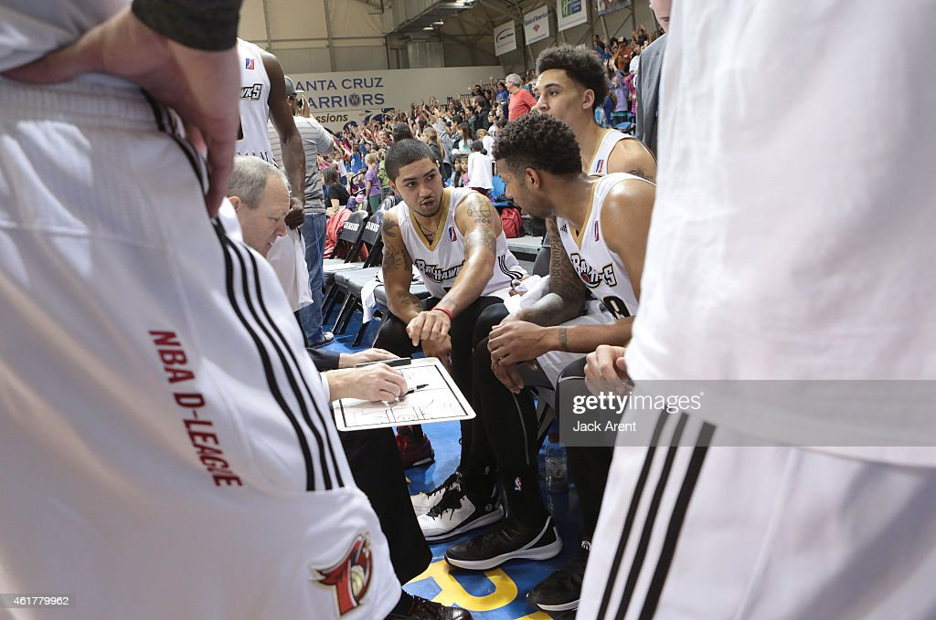 <a gi-track='captionPersonalityLinkClicked' href=/galleries/search?phrase=Peyton+Siva&family=editorial&specificpeople=5792001 ng-click='$event.stopPropagation()'>Peyton Siva</a> #9 of the Erie Bayhawks reacts during a timeout while against the Rio Grande Valley Vipers during the 2015 NBA D-League Showcase presented by SAMSUNG on January 16, 2015 at Kaiser Permanente Arena in Santa Cruz, California.