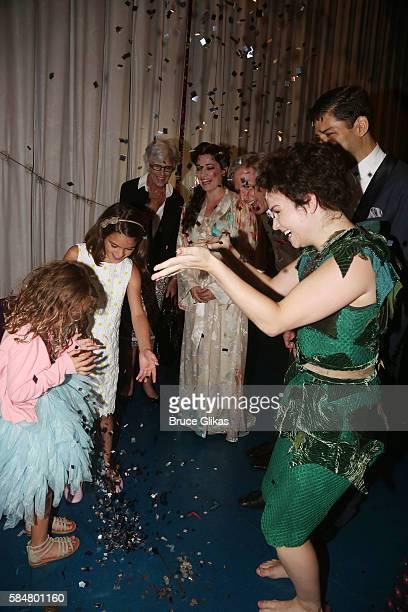 Peyton Suri Cruise grandmother Kathleen Holmes and cast Laura Michelle Kelly Paul Slade Smith Tony Yazbeck and Amy Yakima as 'Peter Pan' play...