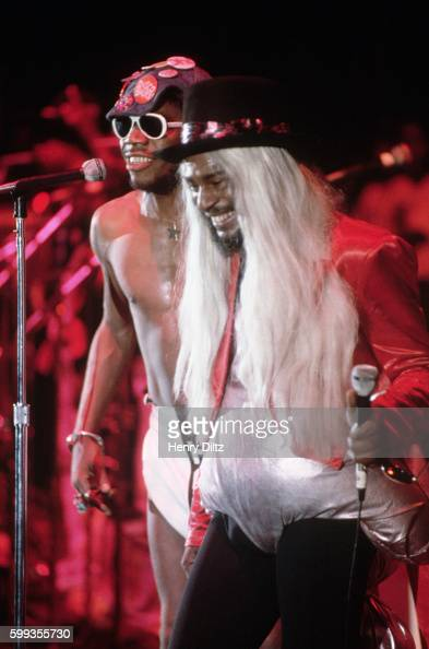 PFunk leader George Clinton performs at 'The World's Greatest Funk Festival' in a diaper and long blond wig