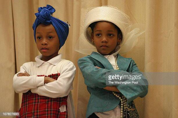 PGBlkHist 02/28/06 Temple Hills MD Black History Month performance by students at Samuel Chase ES including a talent show and a play Two kids in the...