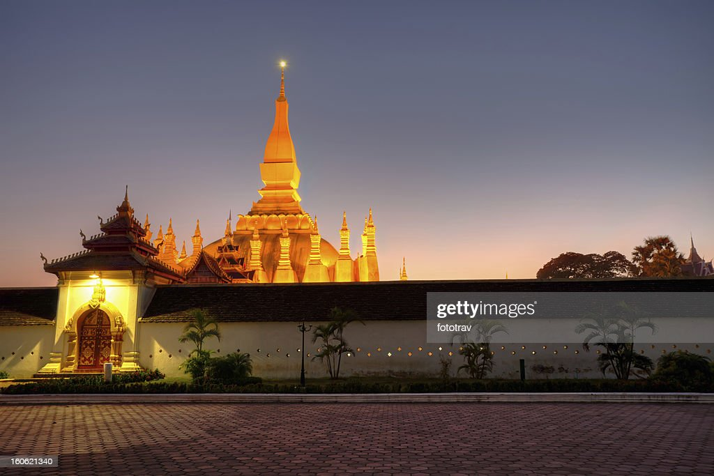 Pha That Luang stupa in Vientiane, Laos : Stock Photo