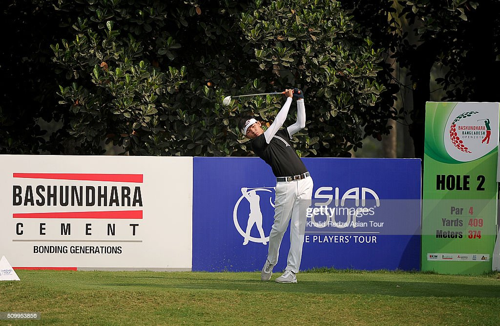 Phachara Khongwatmai of Thailand plays a shot during round four of the Bashundhara Bangladesh Open at Kurmitola Golf Club on February 13, 2016 in Dhaka, Bangladesh.