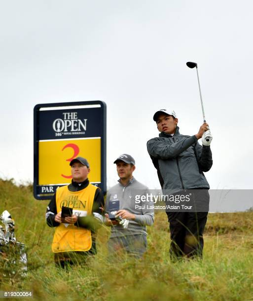 Phachara Khongwatmai of Thailand plays a shot on hole 3 during the first round of the 146th Open Championship at Royal Birkdale on July 20 2017 in...