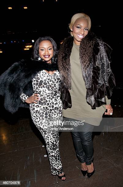 Phaedra Parks and NeNe Leakes backstage at 'Roger Hammerstein's Cinderella' at the Broadway Theatre on December 19 2014 in New York City