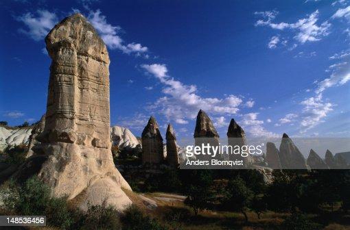 Phallic rock towers near Goreme, eroded of volcanic tuff.