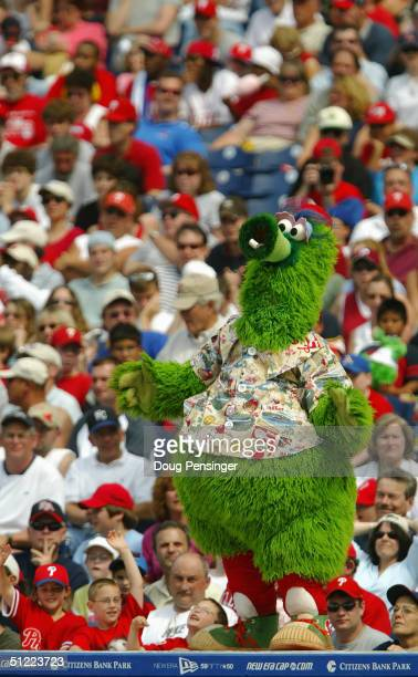 Phanatic the Philadelphia Phillies mascot entertains the crowd during the game against the Atlanta Braves the Citizens Bank Park on May 30 2004 in...