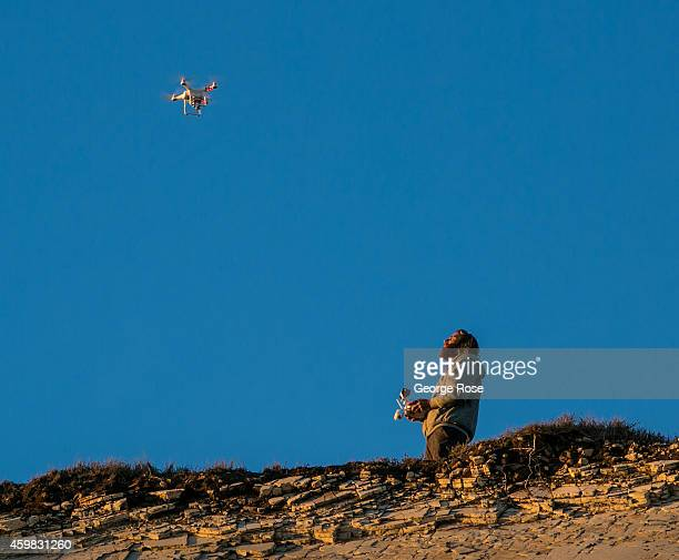 Phantom drone buzzes above Gaviota State Beach at sunset on November 26 in Santa Barbara California Because of its close proximity to Southern...