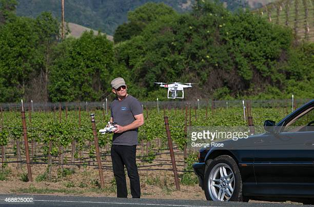 Phantom drone equipped with a GoPro camera is a relatively new tool used to monitor vineyards from the air as viewed on March 30 near Healdsburg...