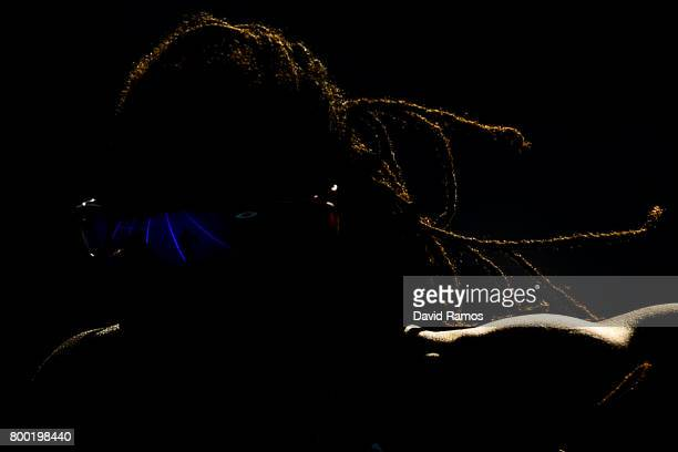 Phara Anacharsis of France competes in the Women's 400m Hurdles heat 2 during day 1 of the European Athletics Team Championships at the Lille...