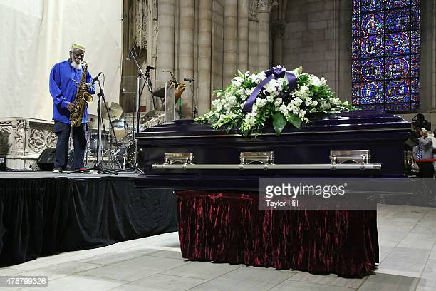 Pharaoh Sanders performs during the recessional at the Ornette Coleman Funeral Service at Riverside Church on June 27 2015 in New York City