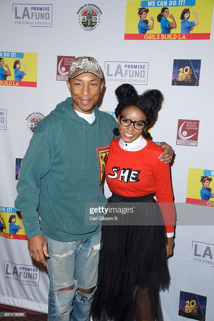 Phareel Williams and Janelle Monáe attend the LA Promise Fund Screening Of 'Hidden Figures' at USC Galen Center on January 10, 2017 in Los Angeles, California.