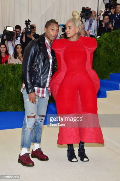 Pharell Williams and Helen Lasichanh arrive 'Rei Kawakubo/Comme des Garcons Art Of The InBetween' Costume Institute Gala at The Metropolitan Museum...