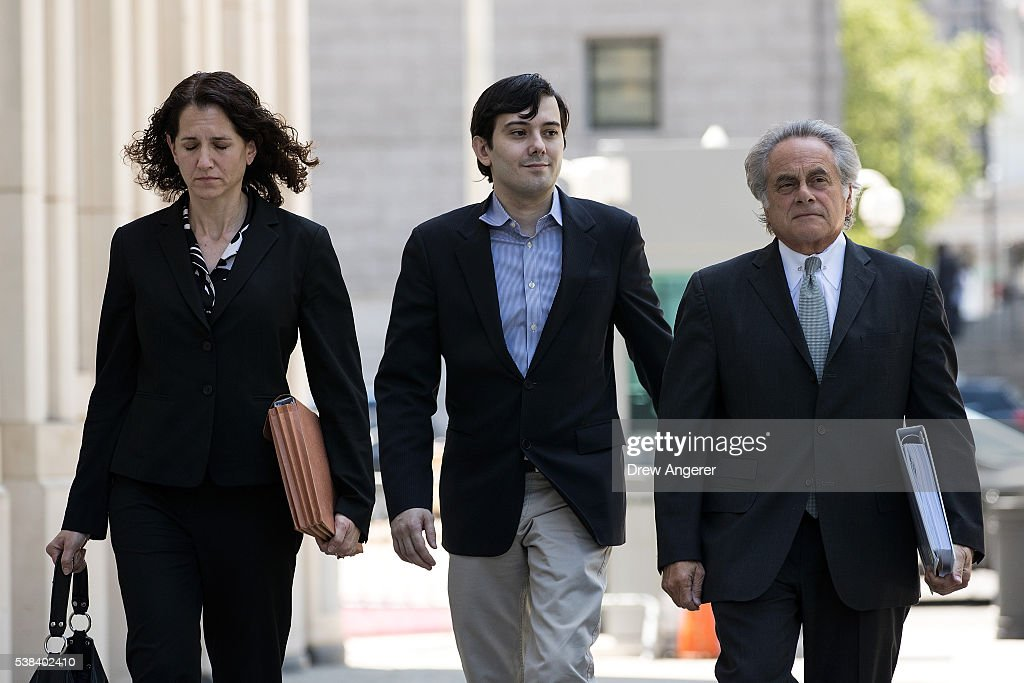 Pharmaceutical executive <a gi-track='captionPersonalityLinkClicked' href=/galleries/search?phrase=Martin+Shkreli&family=editorial&specificpeople=8043643 ng-click='$event.stopPropagation()'>Martin Shkreli</a> (C) arrives with his lawyer <a gi-track='captionPersonalityLinkClicked' href=/galleries/search?phrase=Benjamin+Brafman&family=editorial&specificpeople=2776479 ng-click='$event.stopPropagation()'>Benjamin Brafman</a> (R) at the U.S. District Court for the Eastern District of New York on June 6, 2016 in the Brooklyn borough of New York City. Federal prosecutors filed new criminal charges accusing Shkreli of more illegal financial maneuvers at his former drug company Retrophin Inc.