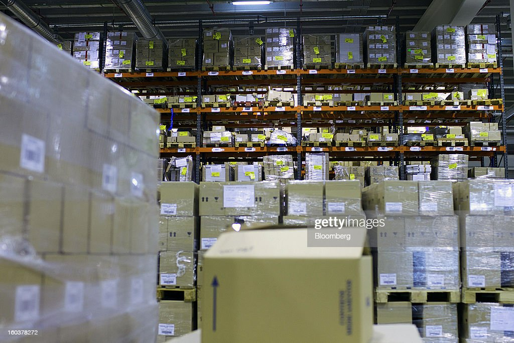 Pharmaceutical products sit stored on shelves at the Cofares SA logistical plant in Guadalajara, Spain, on Wednesday, Jan. 30, 2013. Madrid, the second-biggest contributor to Spain's economy after Catalonia, has sliced 1 billion euros from its budget in 2012, increasing public-transportation costs and university fees, cutting jobs, delaying investments and reducing health-care and social benefits. Photographer: Angel Navarrete/Bloomberg via Getty Images