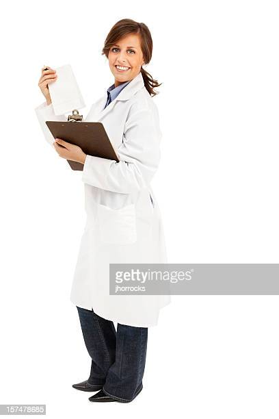 Pharmacist with Clipboard and Prescription Bag