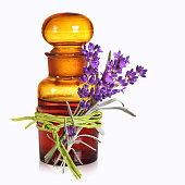 Old chemist`s bottle with lavender medicine and wellness.