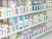 Rack of medicines with generic texts.