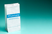 Pharmacy prescription bag with copy space