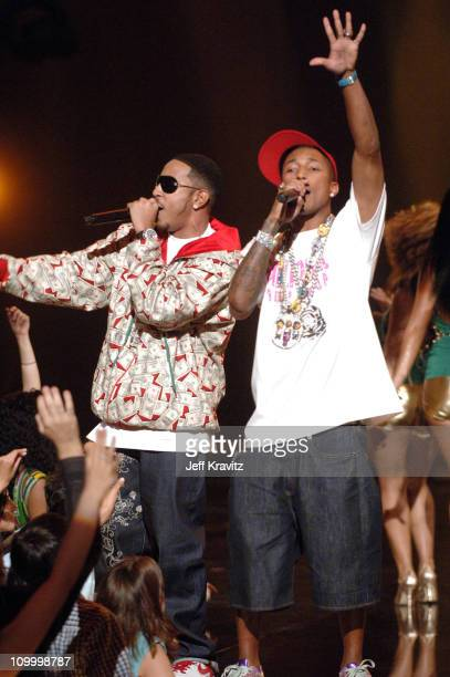 Pharrell and Ludacris performing 'Money Maker' during 2006 MTV Video Music Awards – Show at Radio City Music Hall in New York City New York United...