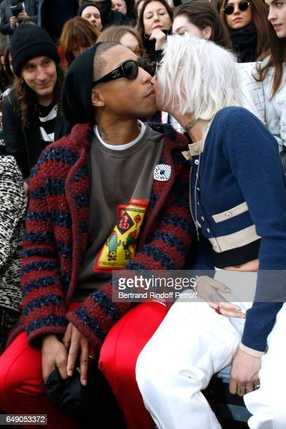 Pharrell Williams and Cara Delevingne attend the Chanel show as part of the Paris Fashion Week Womenswear Fall/Winter 2017/2018 on March 7 2017 in...