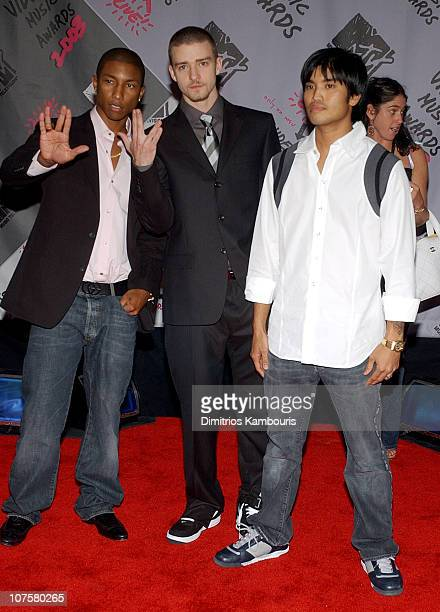 Pharrell Williams and Chad Hugo of The Neptunes with Justin Timberlake