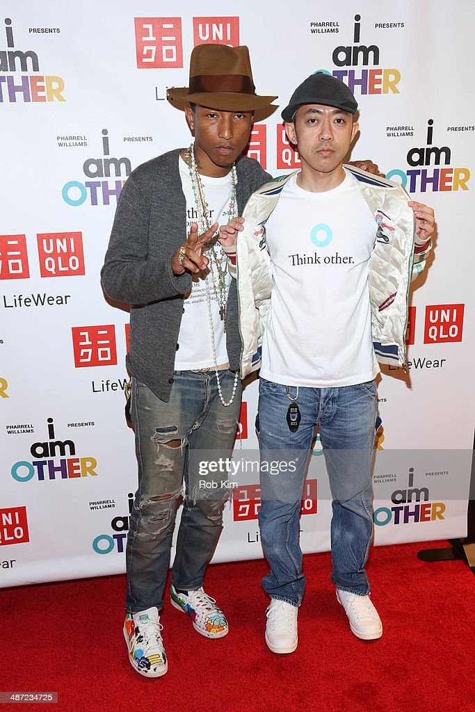 Pharrell Williams and designer Nigo attend the UNIQLO 'I Am Other' collection launch at UNIQLO New York 5th Avenue Global Flagship Store on April 28...
