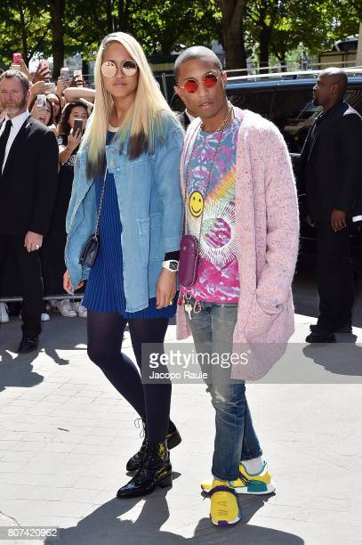 Pharrell Williams and Helen Lasichanh are seen arriving at the 'Chanel' show during Paris Fashion Week Haute Couture Fall/Winter 20172018 on July 4...