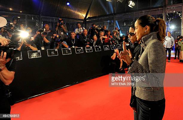Pharrell Williams and Helen Lasichanh attend the MTV EMA's 2015 at the Mediolanum Forum on October 25 2015 in Milan Italy