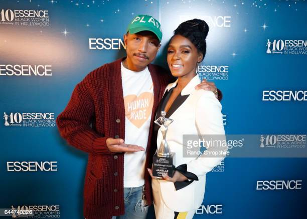 Pharrell Williams and honoree Janelle Monae poses with the 'Breakthrough Award' at Essence Black Women in Hollywood Awards at the Beverly Wilshire...
