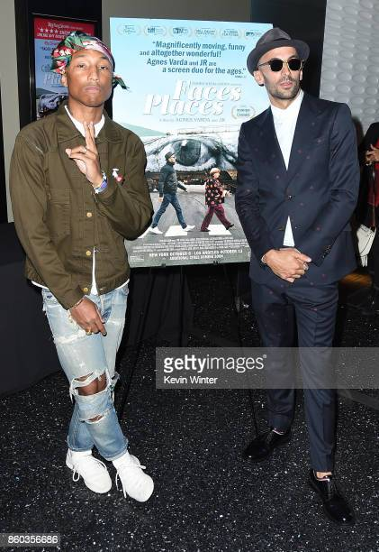 Pharrell Williams and JR attend the premiere of Cohen Media Group's 'Faces Places' at Pacific Design Center on October 11 2017 in West Hollywood...