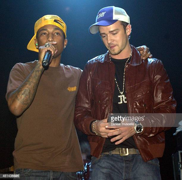 Pharrell Williams and Justin Timberlake during 2003 Billboard AfterParty at the Hard Rock Hotel at Hard Rock Hotel in Las Vegas Nevada