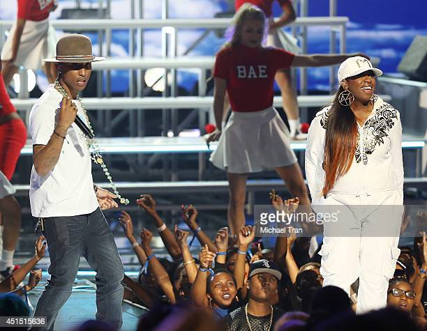 Pharrell Williams and Missy Elliott perform onstage during the 'BET AWARDS' 14 held at Nokia Theater LA LIVE on June 29 2014 in Los Angeles California