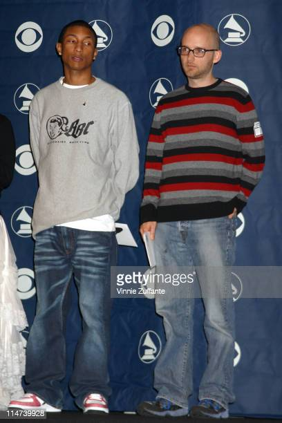 Pharrell Williams and Moby attending the 46th Grammy Awards Nominations Press Conference at the Beverly Hilton Hotel in Beverly Hills Ca 12/04/03