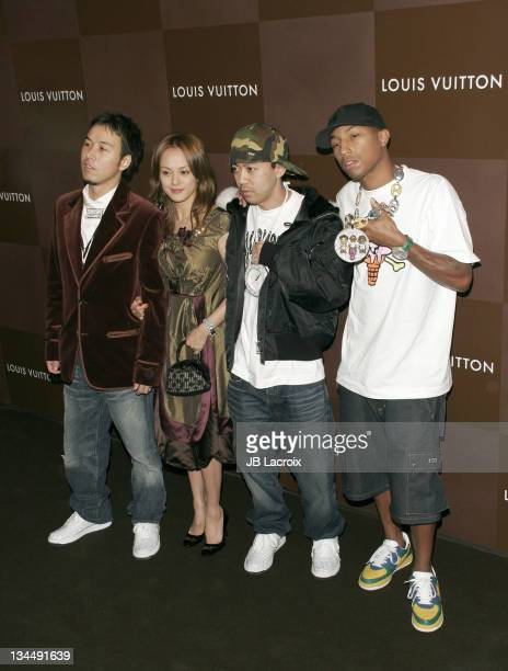 Pharrell Williams and NERD during Louis Vuitton ChampsElysées Flagship Store Opening Party at Louis Vuitton Store ChampsElysées in Paris France