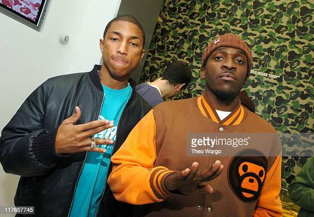 Pharrell Williams and Pusha T during Pharrell Williams Hosts Store Opening of Nigo's A Bathing Ape at Bathing Ape in New York City New York United...