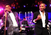 Pharrell Williams and Usher perform onstage during Gabrielle's Angel Foundation Hosts Angel Ball 2013 at Cipriani Wall Street on October 29 2013 in...