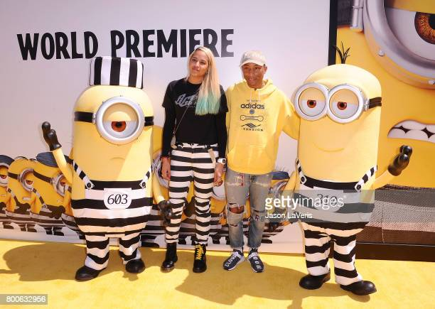 Pharrell Williams and wife Helen Lasichanh attend the premiere of 'Despicable Me 3' at The Shrine Auditorium on June 24 2017 in Los Angeles California