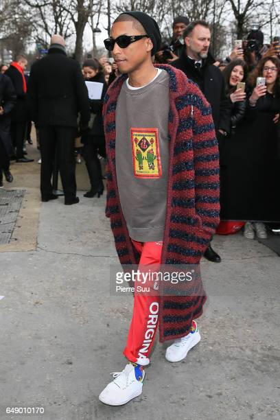 Pharrell Williams arrives at the Chanel show as part of the Paris Fashion Week Womenswear Fall/Winter 2017/2018 on March 7 2017 in Paris France