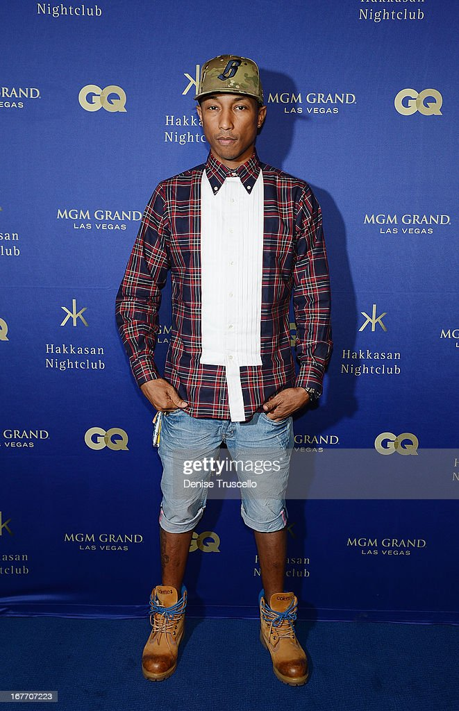 <a gi-track='captionPersonalityLinkClicked' href=/galleries/search?phrase=Pharrell+Williams&family=editorial&specificpeople=161396 ng-click='$event.stopPropagation()'>Pharrell Williams</a> arrives at the grand opening of Hakkasan Nightclub at the MGM Grand on April 27, 2013 in Las Vegas, Nevada.
