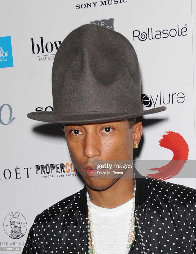 <a gi-track='captionPersonalityLinkClicked' href=/galleries/search?phrase=Pharrell+Williams&family=editorial&specificpeople=161396 ng-click='$event.stopPropagation()'>Pharrell Williams</a> attends The BRIT Awards 2014 Sony after party on February 19, 2014 in London, England.