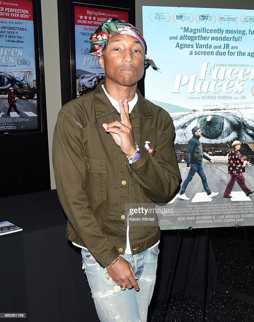 Pharrell Williams attends the premiere of Cohen Media Group's 'Faces Places' at Pacific Design Center on October 11, 2017 in West Hollywood, California.