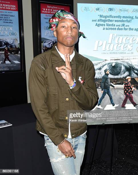 Pharrell Williams attends the premiere of Cohen Media Group's 'Faces Places' at Pacific Design Center on October 11 2017 in West Hollywood California