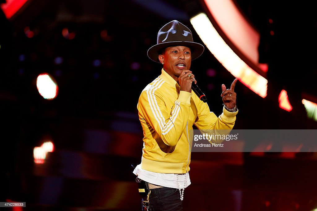 <a gi-track='captionPersonalityLinkClicked' href=/galleries/search?phrase=Pharrell+Williams&family=editorial&specificpeople=161396 ng-click='$event.stopPropagation()'>Pharrell Williams</a> attends the 'Wetten, dass..?' TV Show from Dusseldorf at the ISS Dome on February 22, 2014 in Duesseldorf, Germany.