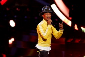 Pharrell Williams attends the 'Wetten dass' TV Show from Dusseldorf at the ISS Dome on February 22 2014 in Duesseldorf Germany