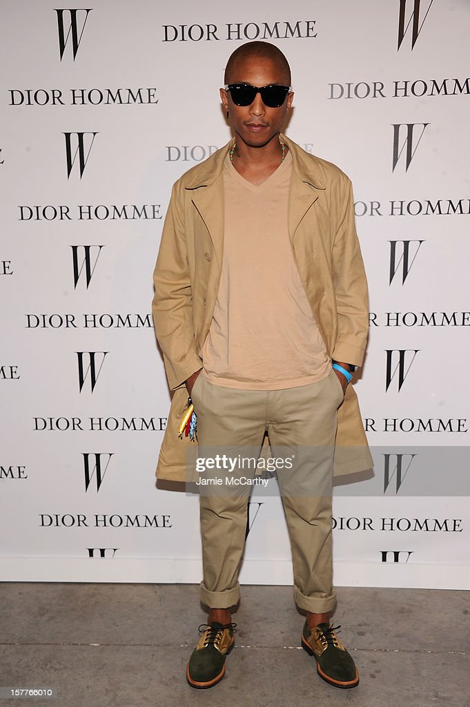 Pharrell Williams attends the World Premiere of Bruce Weber's Film 'CAN I MAKE THE MUSIC FLY' hosted by DIOR Homme's Kris Van Assche, Bruce Weber, & W Magazine's Stefano Tonchi in Celebration of The New Dior Homme Miami Boutique at The Moore Building on December 5, 2012 in Miami, Florida.