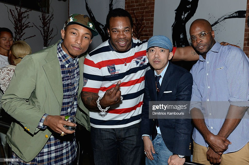 Pharrell Williams, Busta Rhymes, designer Nigo and Robert Walker attend the 10th anniversary party of Billionaire Boys Club presented by HTC at Tribeca Canvas on June 4, 2013 in New York City.