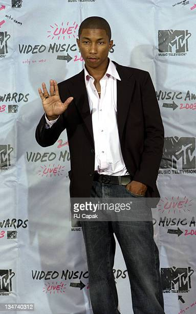 Pharrell Williams during 2003 MTV Video Music Awards Press Room at Radio City Music Hall in New York City New York United States