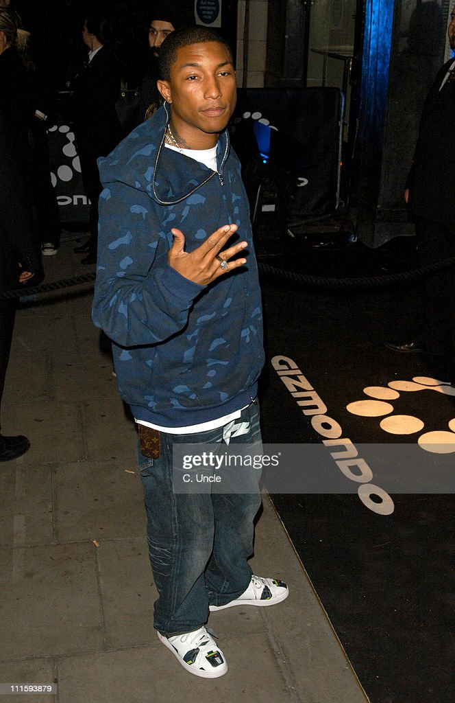 <a gi-track='captionPersonalityLinkClicked' href=/galleries/search?phrase=Pharrell+Williams&family=editorial&specificpeople=161396 ng-click='$event.stopPropagation()'>Pharrell Williams</a> during Gizmondo Launch Party - Arrivals at Sheraton Park Lane Hotel in London, Great Britain.