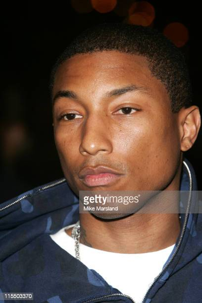 Pharrell Williams during Gizmondo MultiMedia Handheld Launch Party Arrivals at Park Lane Hotel in London United Kingdom